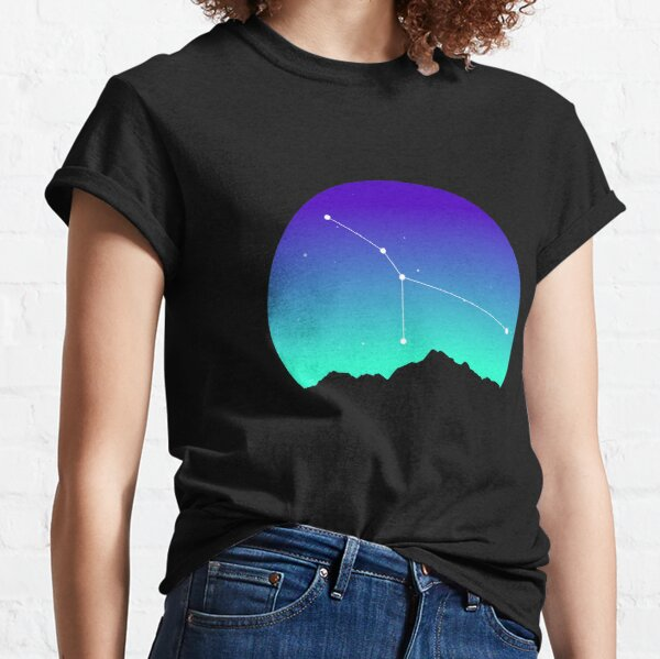 Cancer Star Sign Astrology in Night Sky over Mountains Classic T-Shirt