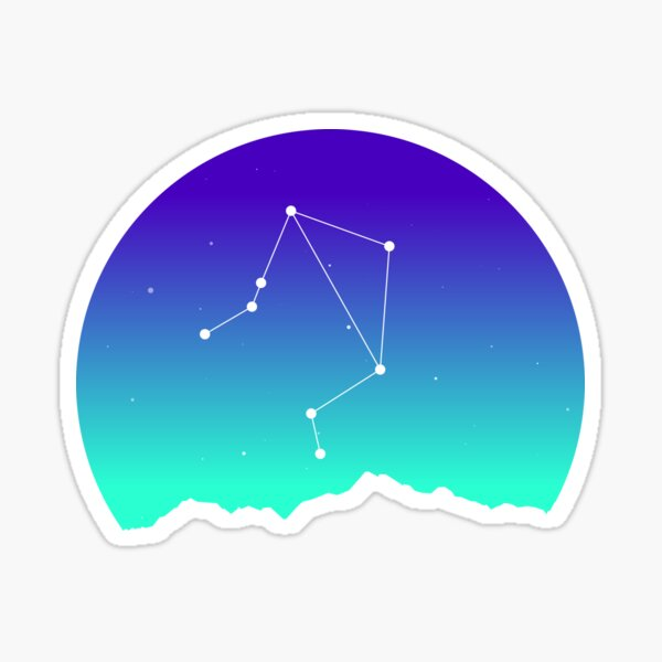 Libra Star Sign Astrology in Night Sky over Mountains Sticker