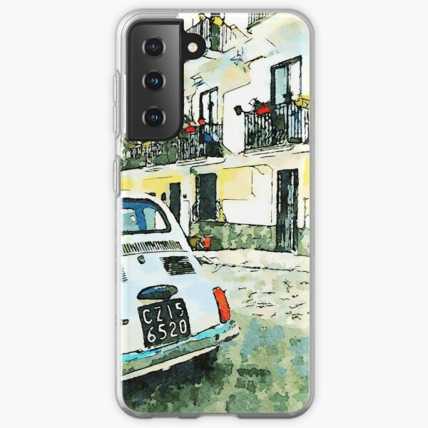 Pizzo Calabro: old car Fiat 500 parked in a street Samsung Galaxy Soft Case