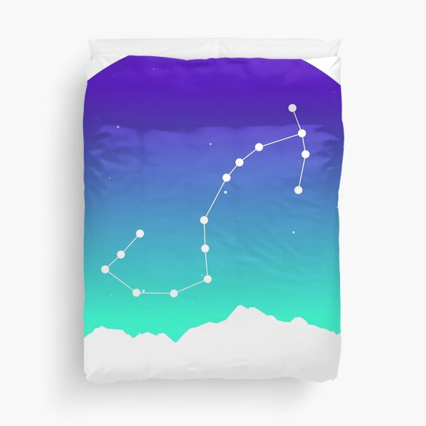 Scorpio Star Sign Astrology in Night Sky over Mountains Duvet Cover