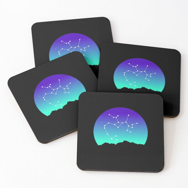 Sagittarius Star Sign Astrology in Night Sky over Mountains Coasters (Set of 4)