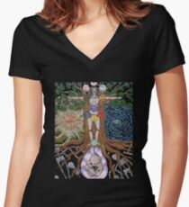 Tree Of Wisdom Women's Fitted V-Neck T-Shirt