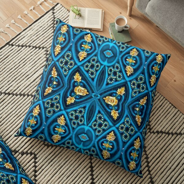 Asian Style Pattern Blue and Gold Floor Pillow