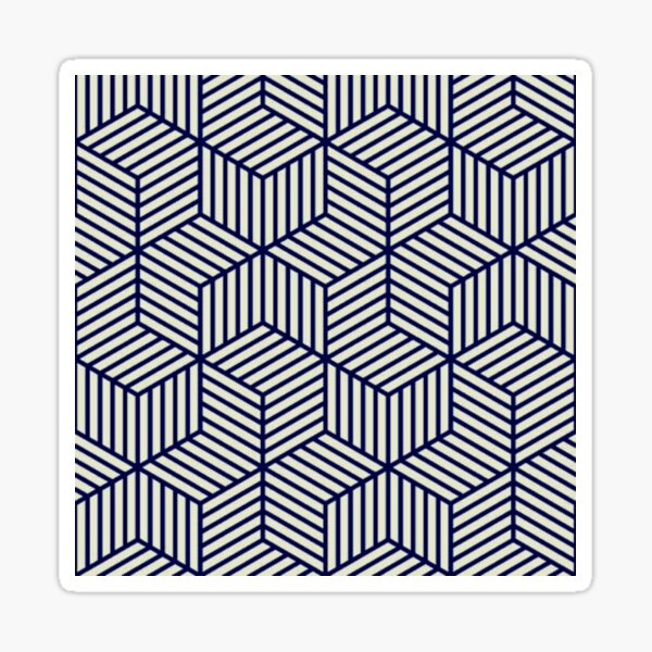 Black and White Isometric Cube Pattern Sticker