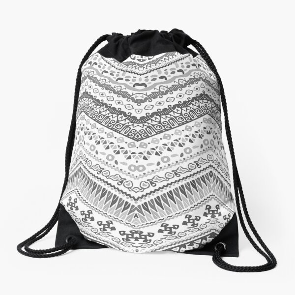 black and white Ethnic pattern with zigzag Drawstring Bag