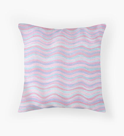 Pink And Blue Stripes Rose Quartz And Serenity Hand Drawn Pattern Throw Pillow