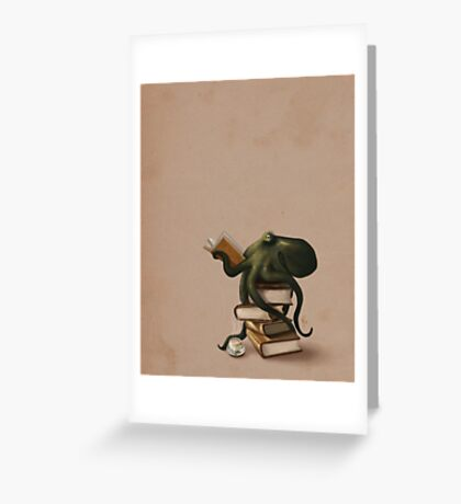 Well-Read Octopus Greeting Card