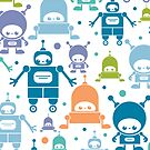 Colorful fun robots pattern by oksancia