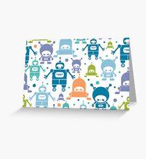 Colorful fun robots pattern Greeting Card