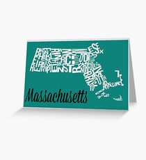 Massachusetts Typography Map Grußkarte