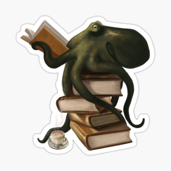 Well-Read Octopus Sticker
