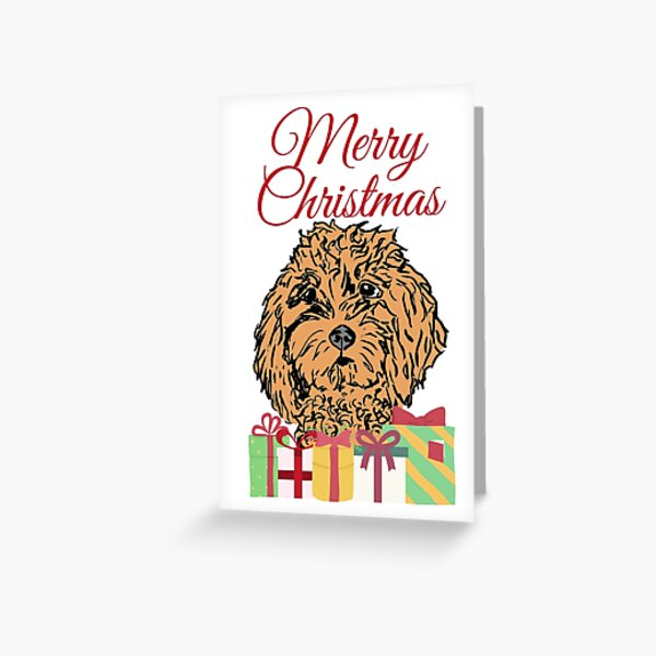 Merry Christmas, goldendoodle Greeting Card