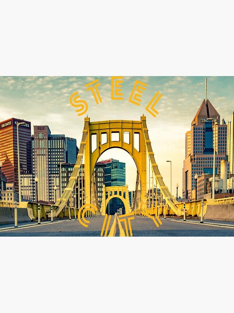 Pittsburgh City Skyline Bridge Photograph Shirts Stickers by rbaaronmattie