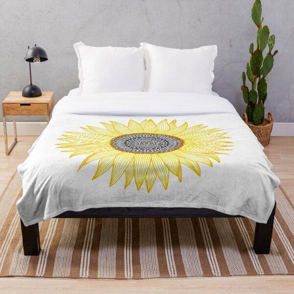 Goldene Mandala Sonnenblume Fleecedecke