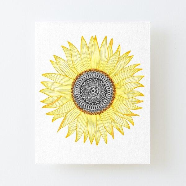 Golden Mandala Sunflower Canvas Mounted Print