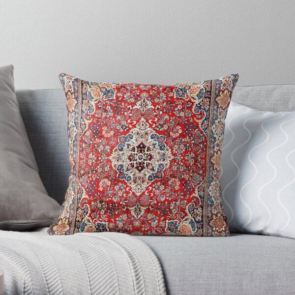 Red Blue Sarouk Persian Carpet Print Throw Pillow
