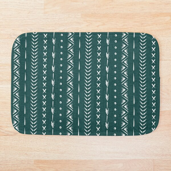 Boho mud cloth pattern, forest green and white Bath Mat