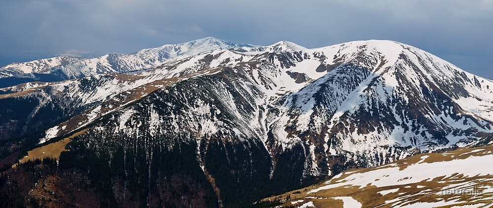 Panorama of mountain range in the spring by naturalis
