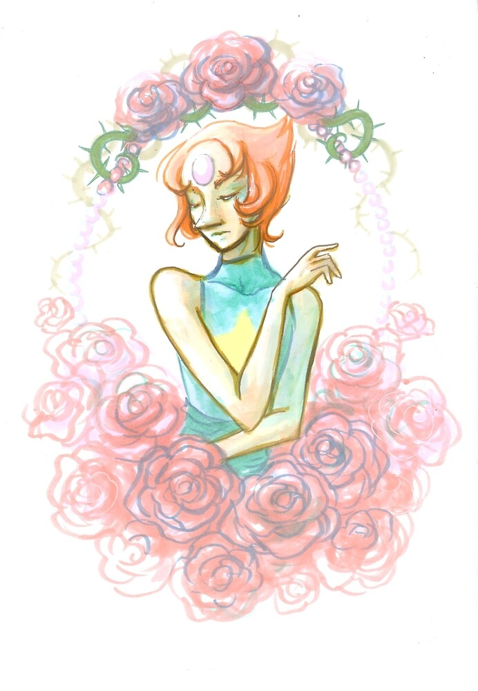 Pearl and roses by Citrongrape