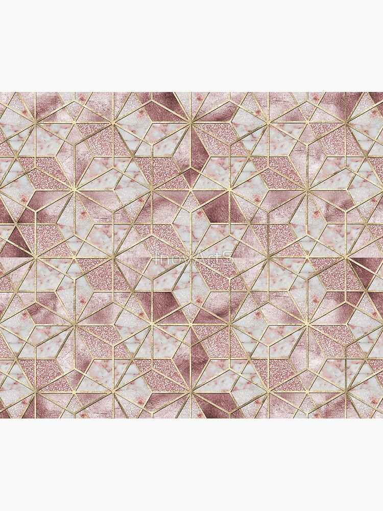 Modern rose gold geometric star flower pattern  by InovArtS