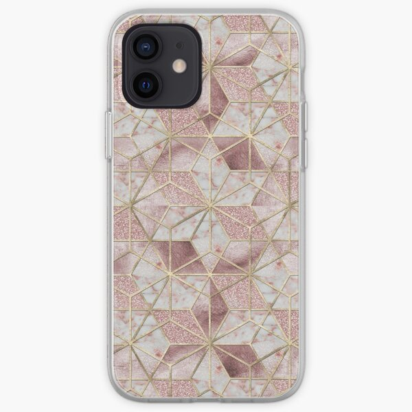 Modern rose gold geometric star flower pattern  iPhone Soft Case