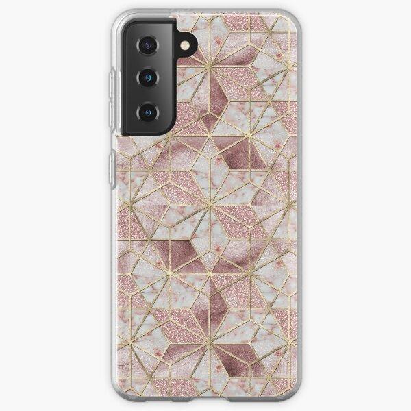 Modern rose gold geometric star flower pattern  Samsung Galaxy Soft Case