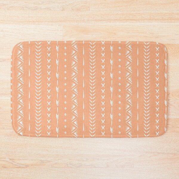 Boho mud cloth pattern, peach pink and white Bath Mat