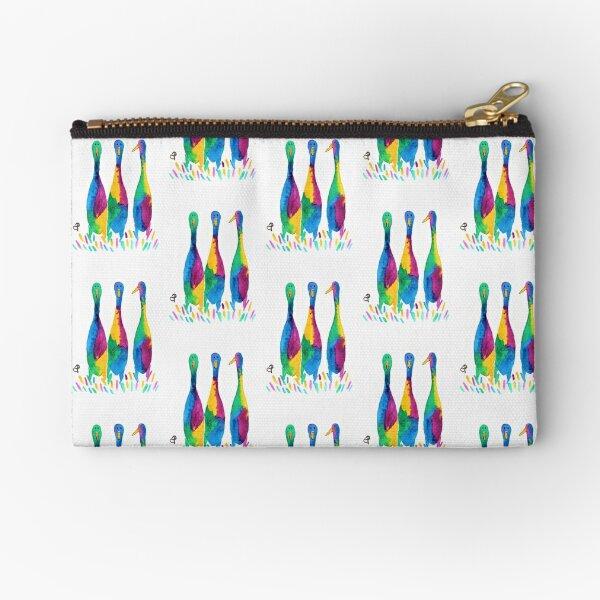 Trio of Colurful Rainbow Runner Ducks - Original Watercolour Art Zipper Pouch