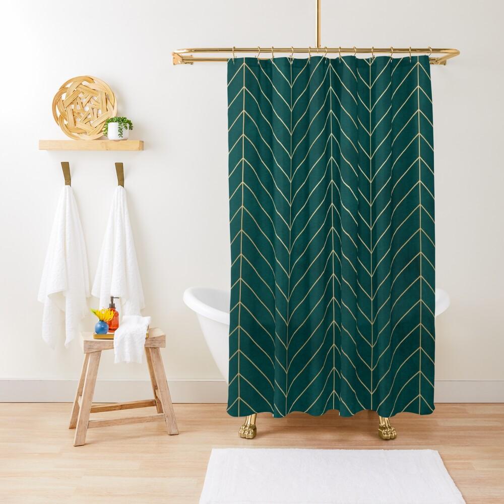 Teal & Gold Chevron Shower Curtain