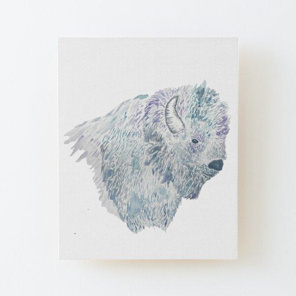 Watercolor Buffalo Wood Mounted Print