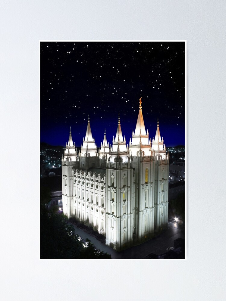 Salt Lake Temple Starry Night 20x30 Poster By Kenfortie Redbubble