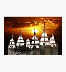 Salt Lake Temple Sunset Spires 20x30 Photographic Print