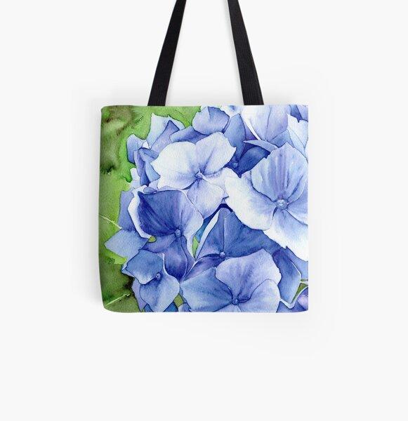 Blue Hydrangea All Over Print Tote Bag