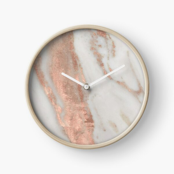 Marble - Rose Gold Shimmery Marble Clock