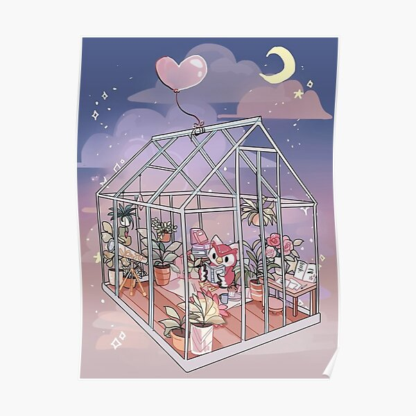 Celeste à la maison - oeuvre inspirée de Animal Crossing Poster