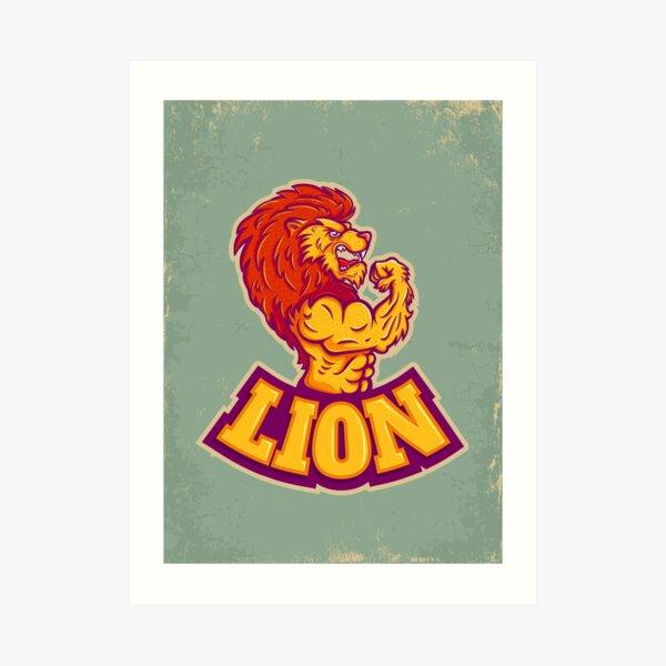 Lion bodybuilder Art Print