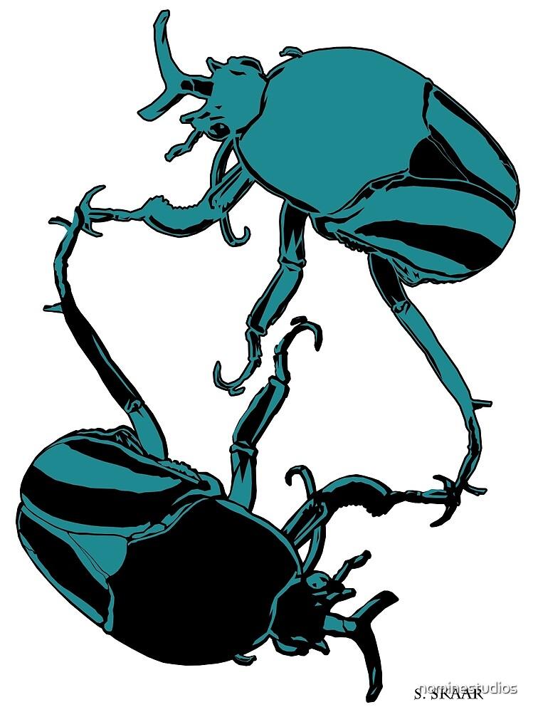 Yin Yang Beetles - Blue and Black by nominestudios