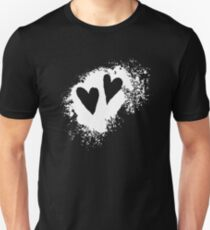 Two hearts on grunge stain Unisex T-Shirt