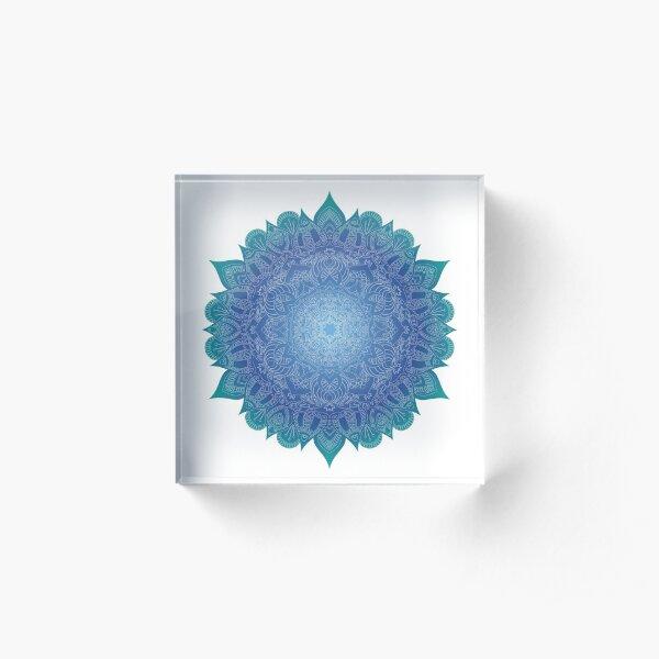 Blue Gradient Mandala Acrylic Block
