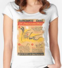 Radiation Warning poster 1950's Women's Fitted Scoop T-Shirt