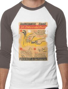 Radiation Warning poster 1950's Men's Baseball ¾ T-Shirt