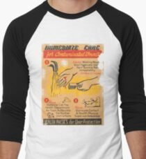 Radiation Warning poster 1950's Men's Baseball ¾ T-Shirt