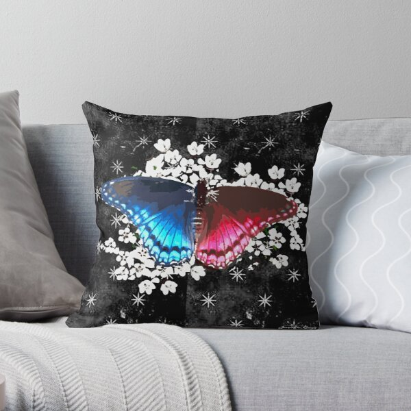 Blue Red Butterfly on White Wildflowers Throw Pillow