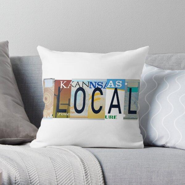 Kansas Local, License Plates  Throw Pillow