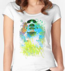 moai in green Women's Fitted Scoop T-Shirt