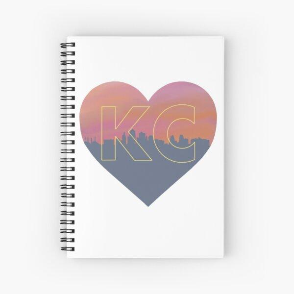 Kansas City skyline heart in yellow Spiral Notebook
