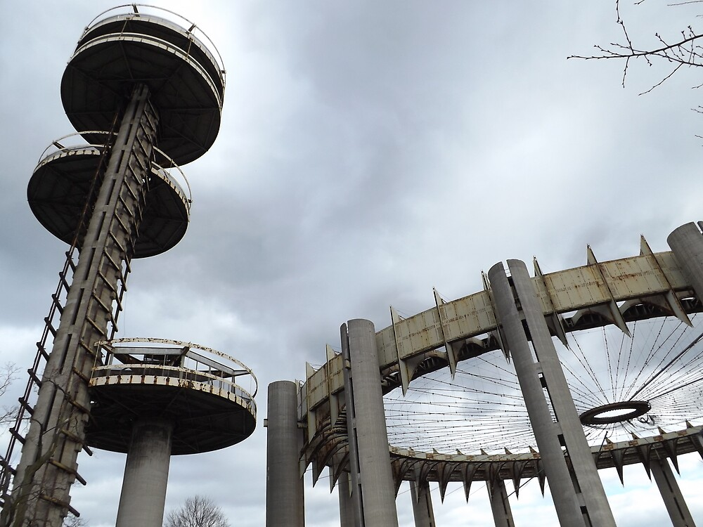 Abandoned New York State Pavilion from 1964/1965 New York World Fair, Flushing Meadow Park, Queens, New York  by lenspiro