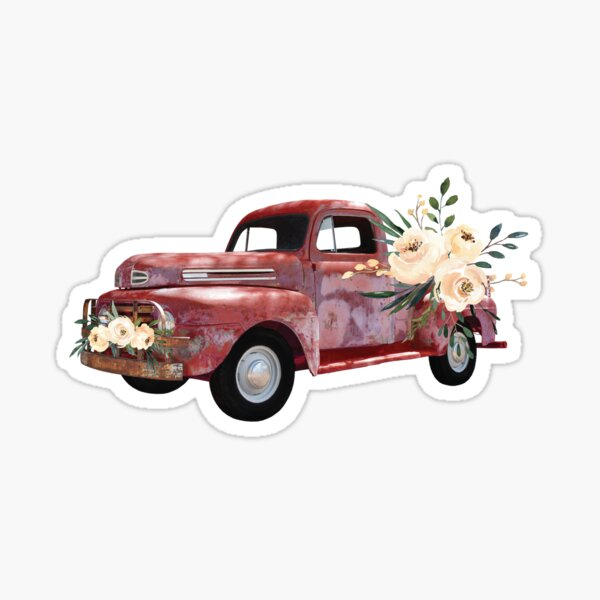 Rustic Vintage Truck With Flowers Sticker