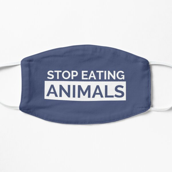 Navy Stop Eating Animals Face Mask Mask