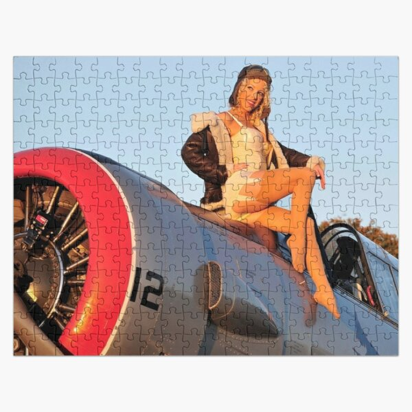 Pin up Girl Airplane Jigsaw Puzzle